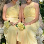 Bridesmaids on garden bench